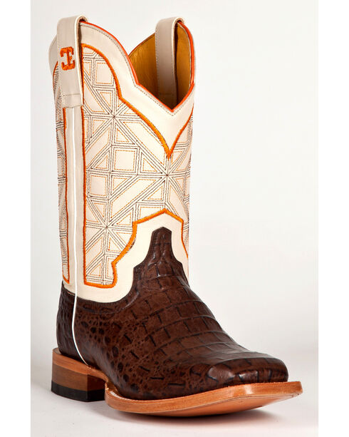 Cinch Men's Caiman Print Western Boots, Chocolate, hi-res