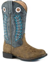 Roper Boys' Hole In The Wall Blue Embroidered Cowboy Boots - Round Toe, , hi-res