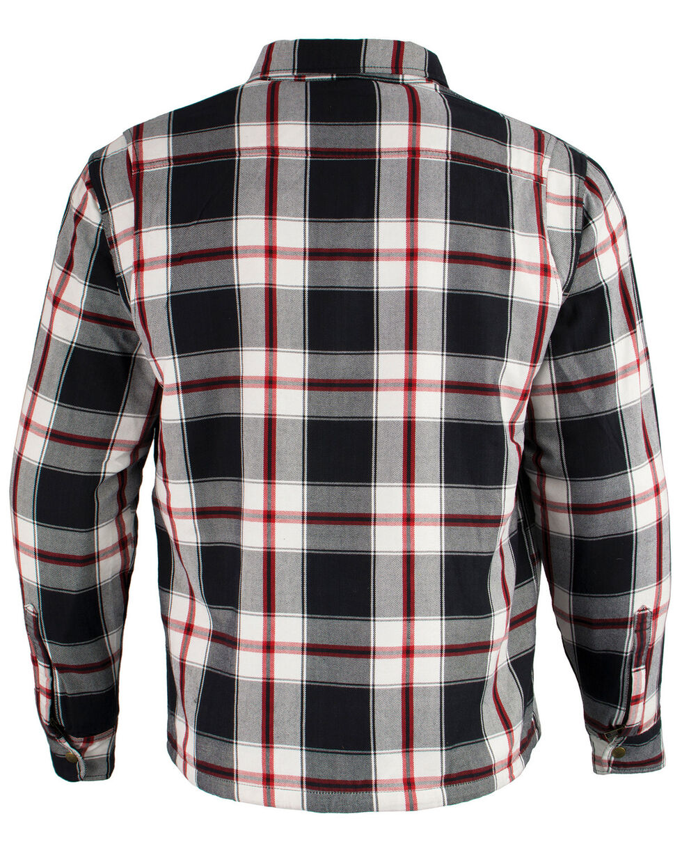 Milwaukee Performance Men's Black/White/Red Aramid Flannel Biker Jacket - 5X, Black/red, hi-res