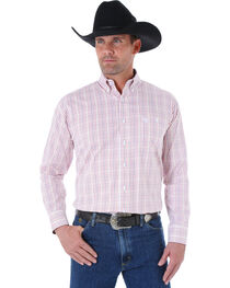 Wrangler George Strait Men's White and Burgundy Plaid Western Shirt, , hi-res