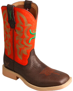 Twisted X HOOey Kids' Neon Western Boots, Chocolate, hi-res