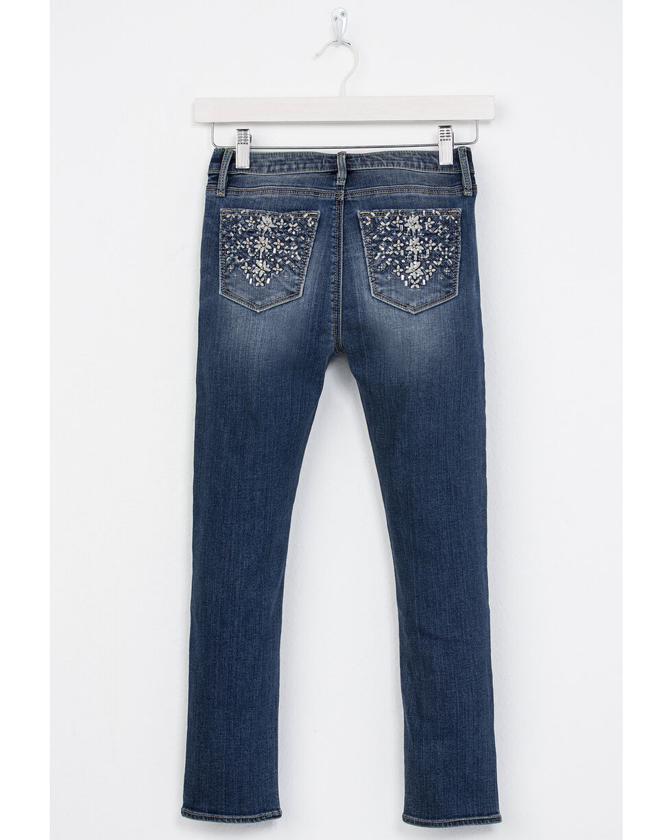Miss Me Girls' All That Sparkles Ankle Skinny Jeans, Indigo, hi-res