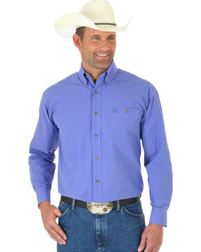 Wrangler George Strait Men's Purple Long Sleeve Shirt - Tall, Purple, hi-res