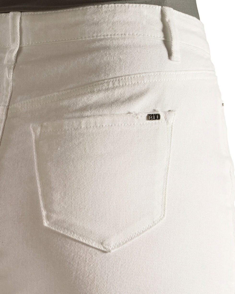 Tractr Blu Women's White Asymmetrical Denim Skirt , White, hi-res