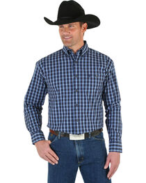 Wrangler George Strait Men's Blue & Black Plaid Shirt, , hi-res