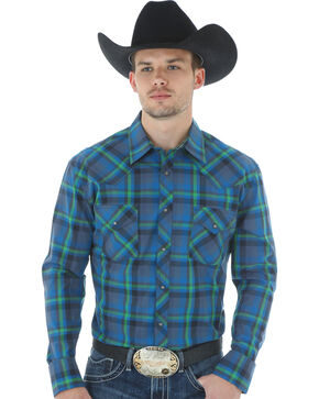 Wrangler 20X Advanced Comfort Men's Blue Plaid Shirt, Blue, hi-res