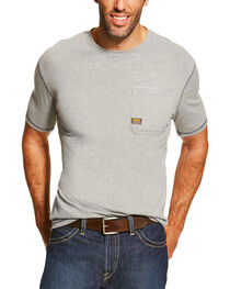Ariat Men's Grey Rebar Crew Short Sleeve Pocket Tee - Tall, , hi-res