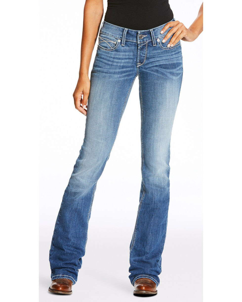 Ariat Women's R.E.A.L. Boot Cut Slim Fit Ella Jeans , Blue, hi-res