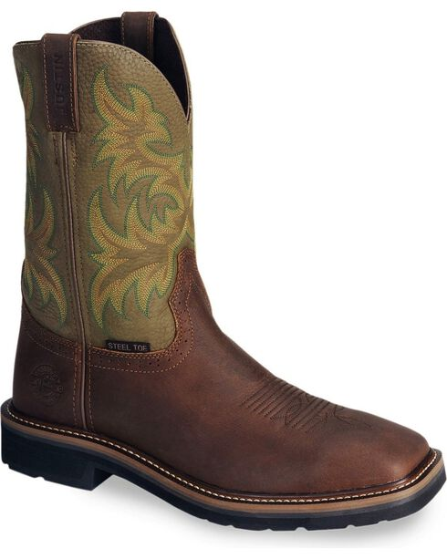 "Justin Men's Stampede 11"" Steel Toe Western Work Boots, Waxed Brn, hi-res"
