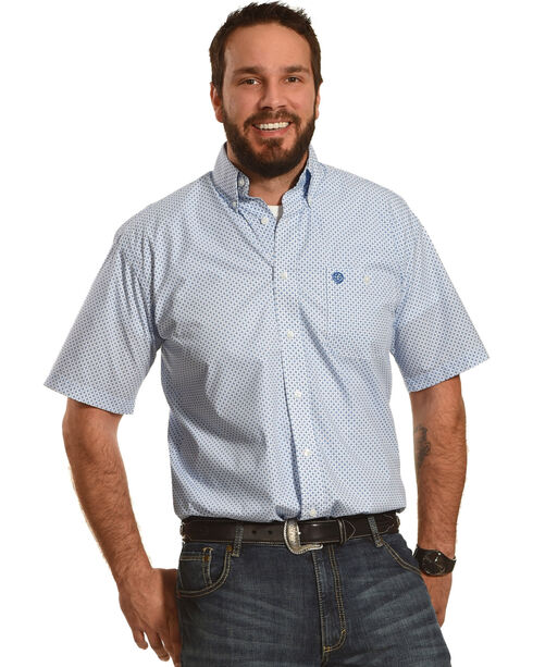 Wrangler Men's White George Strait Fleur De Lis Short Sleeve Shirt , White, hi-res
