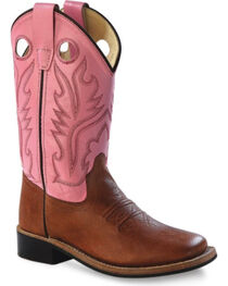 Old West Youth Girls' Pink Canyon Cowgirl Boots, , hi-res