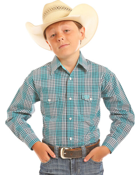 Panhandle Boys' Checkered Plaid Long Sleeve Snap Shirt, Aqua, hi-res