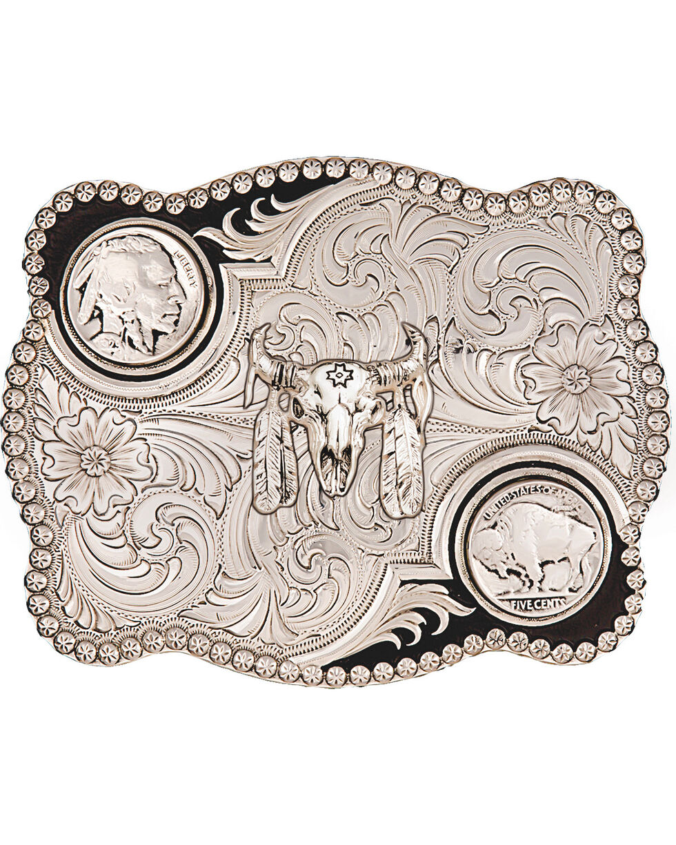 Montana Silversmiths Buffalo Nickel Belt Buckle, Silver, hi-res