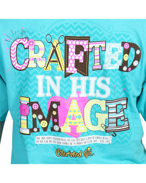 Cherished Girl Women's Crafted in His Image Short Sleeve T-Shirt, Teal, hi-res