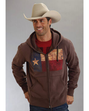 Roper Americana Collection Zip Front Hooded Sweatshirt, Brown, hi-res