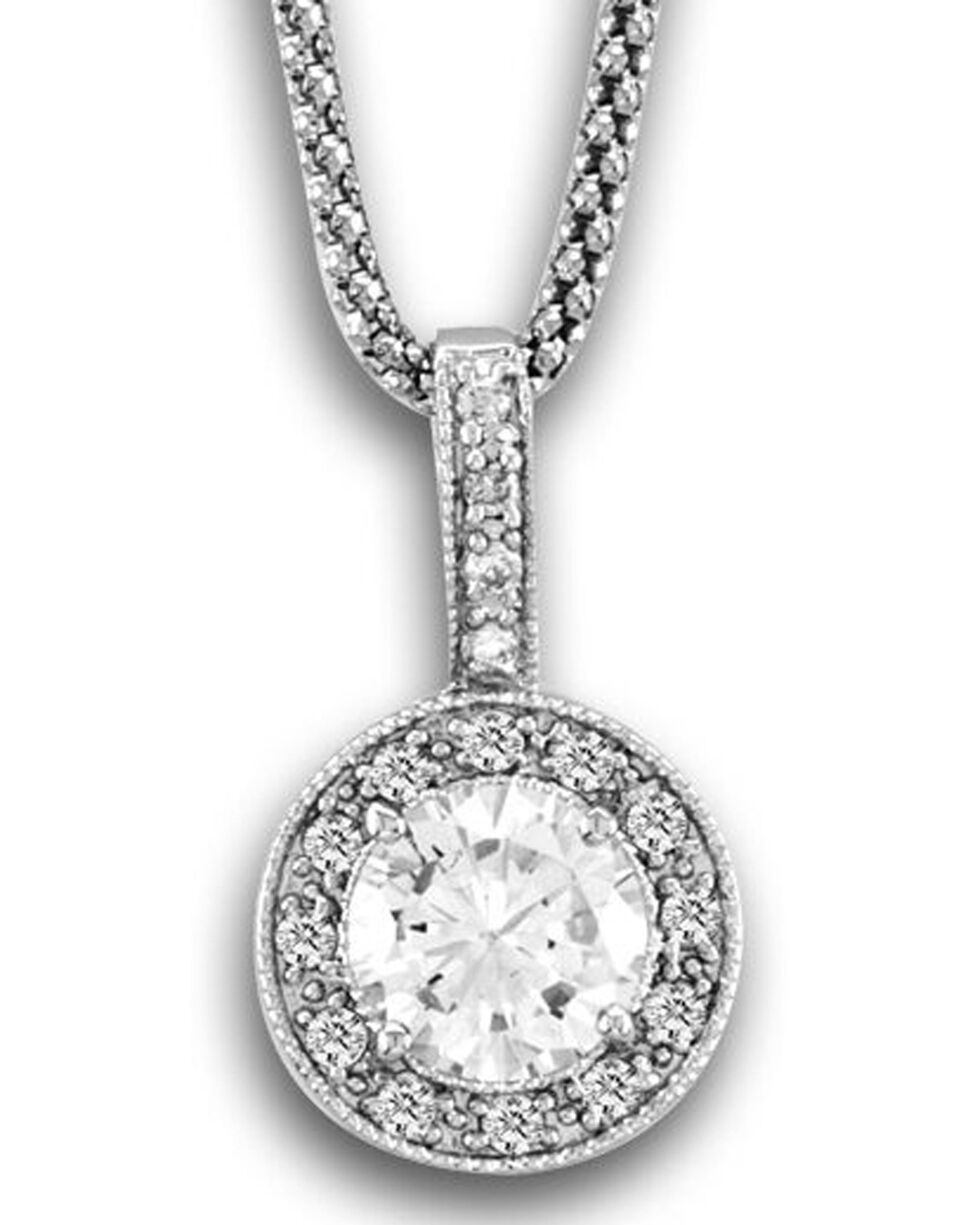 Kelly Herd Women's Silver Bezel Drop Pendant Necklace , Silver, hi-res