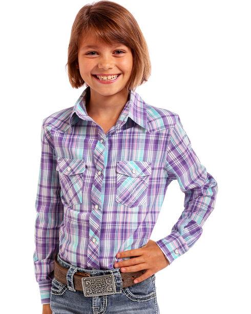 Panhandle Girls' Purple Plaid Western Shirt , Purple, hi-res