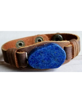 Jewelry Junkie Women's Lapis Gemstone Narrow Leather Cuff , Blue, hi-res