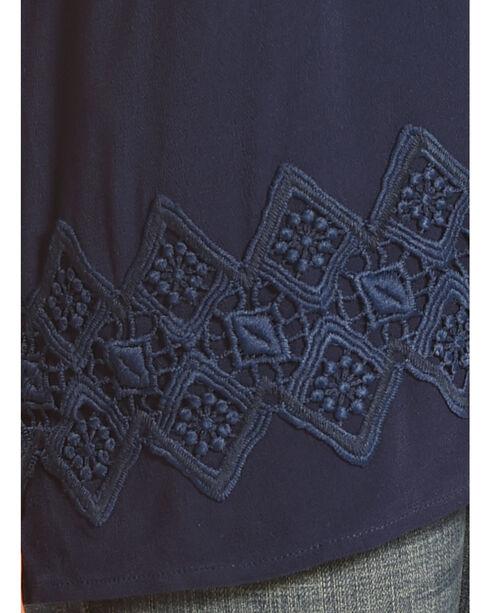 Ruby Rd. Women's Split Neck with Tassel Solid Crepe Top, Navy, hi-res