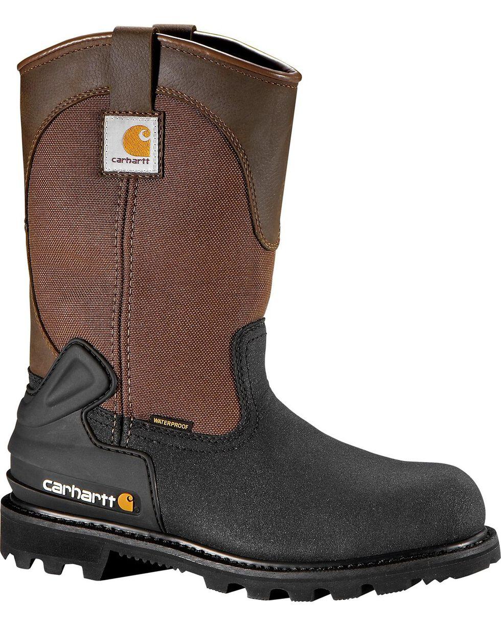 Carhartt Men's CSA Wellington Waterproof Work Boots - Steel Toe, Brown, hi-res