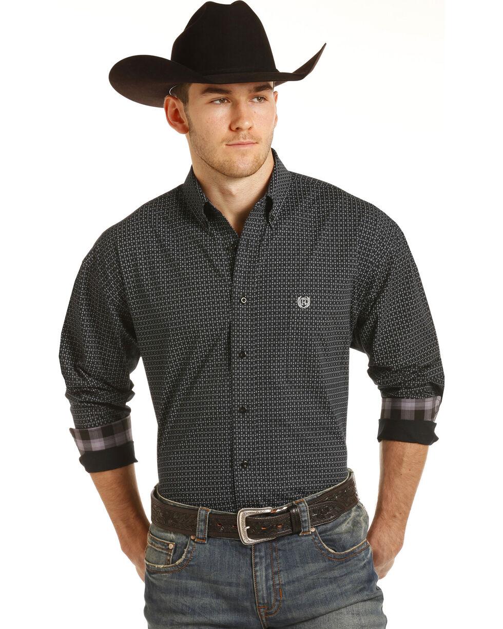 Panhandle Men's Black Peached Poplin Print Western Shirt , Black, hi-res