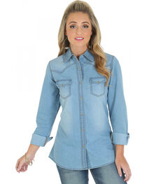 Wrangler Women's Long Sleeve Denim Western Shirt, , hi-res
