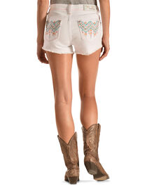 Grace in LA Aztec Stitch White Cutoff Shorts, , hi-res