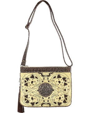 Savana Women's Bone Cutout Inlay Organizer Crossbody Bag, Ivory, hi-res