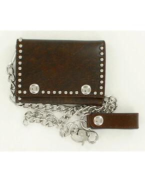 Nocona Men's Studded Chain Wallet, Brown, hi-res
