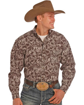 Tuf Cooper by Panhandle Men's Dark Paisley Printed Long Sleeve Shirt, Brown, hi-res