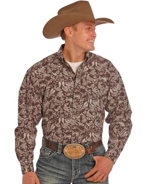 Tuf Cooper by Panhandle Men's Dark Paisley Printed Long Sleeve Shirt, Brown, hi-res
