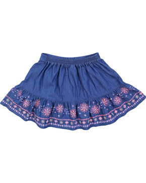 Shyanne Girl's Embroidered Denim Skirt, Blue, hi-res