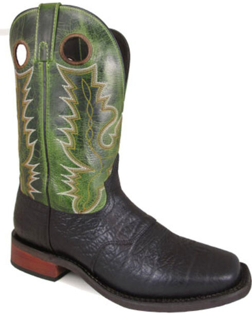 """Smoky Mountain Men's Timber 11"""" Black/Green Crackle Leather Cowboy Boots - Square Toe, Black, hi-res"""