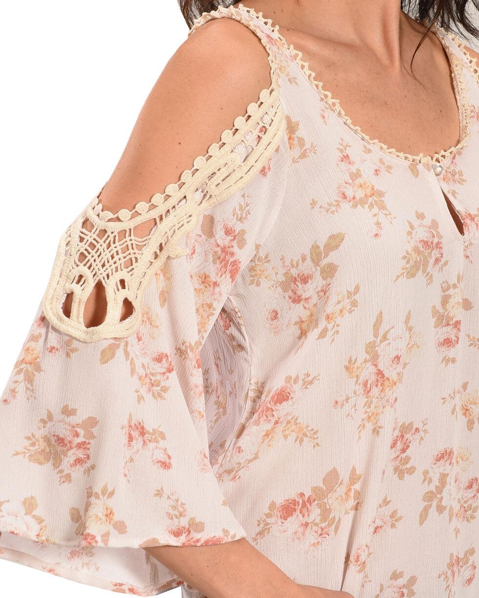 Luna Chix Women's Ivory Floral Crochet Cold Shoulder Top, Ivory, hi-res