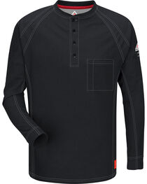 Bulwark Men's Black iQ Series Flame Resistant Henley Shirt - Big & Tall, , hi-res