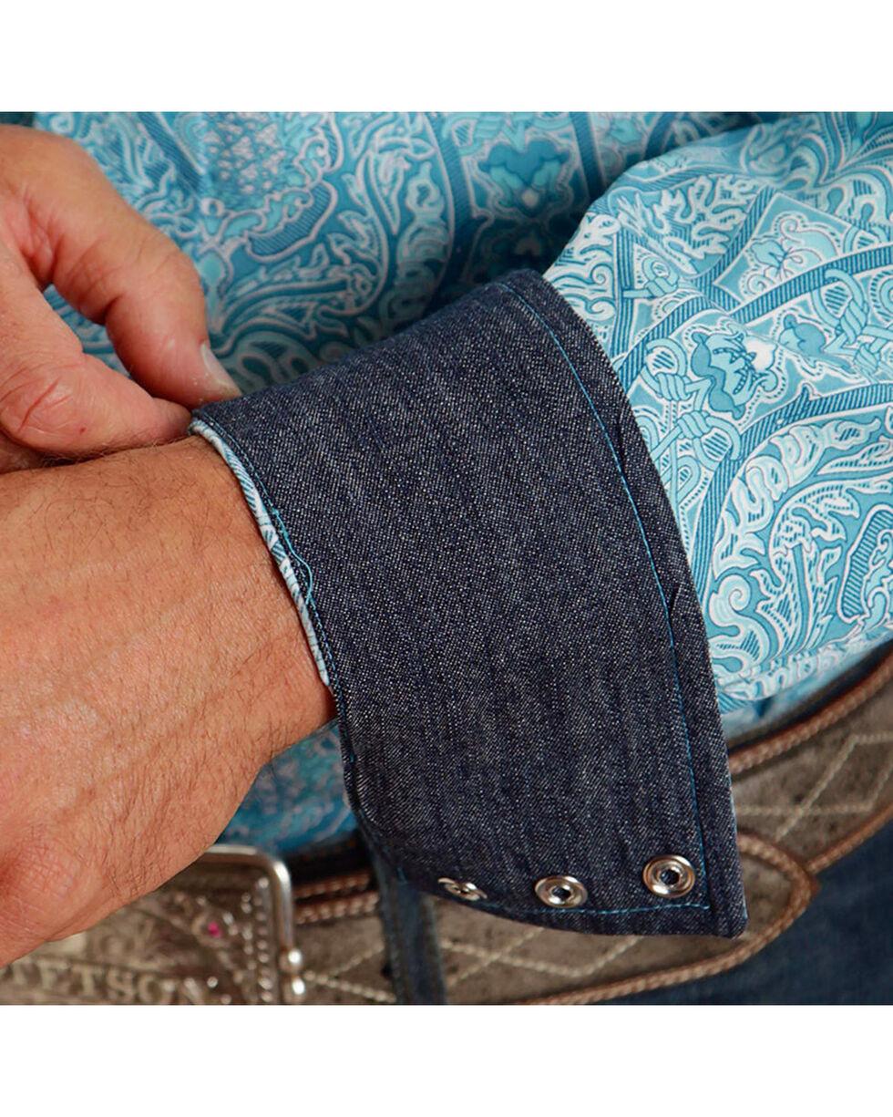 Stetson Men's Floral Long Sleeve Shirt , Turquoise, hi-res