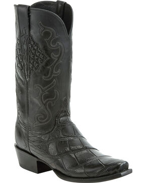 Lucchese Men's Handmade Ace Black Giant Gator Western Boots - Square Toe, Black, hi-res