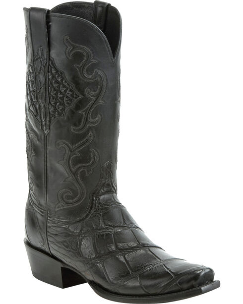 Lucchese Men's Ace Black Giant Gator Western Boots - Square Toe, Black, hi-res