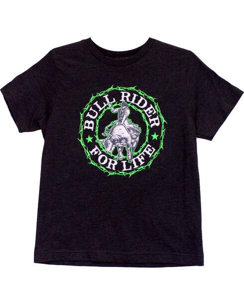 Cowboy Hardware Boy's Bull Rider Short Sleeve Tee, Grey, hi-res