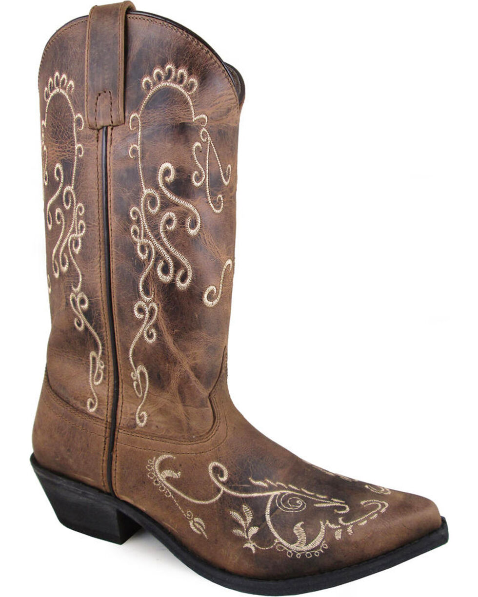 Smoky Mountain Women's Brown Jolene Embroidered Boots - Snip Toe , Brown, hi-res
