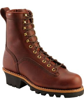 Chippewa Men's Lace-To-Toe Logger Work Boots, Redwood, hi-res