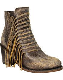 Corral Women's Fringe Ankle Boots, Black, hi-res
