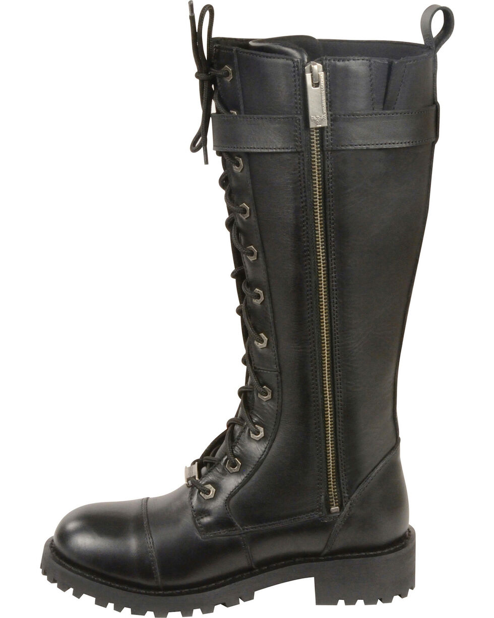 """Milwaukee Leather Women's 14"""" Lace To Toe High Rise Leather Boots - Round Toe - Wide, Black, hi-res"""