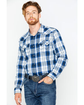Cody James Men's Plaid Prairie Dog Long Sleeve Shirt, Blue, hi-res