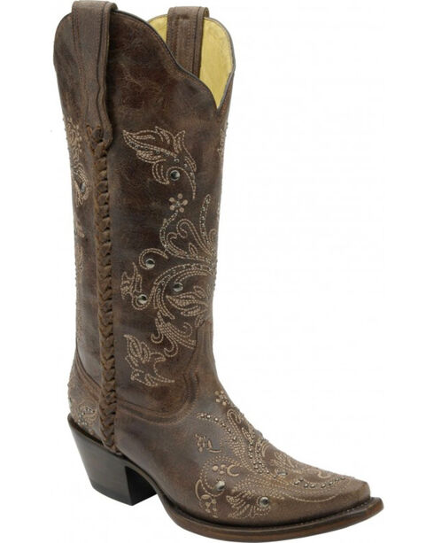Corral Women's Floral Whip Stitch Studded Western Boots, Chocolate, hi-res