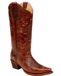 Circle G Embroidered Snip Toe Western Boots, Cognac, hi-res
