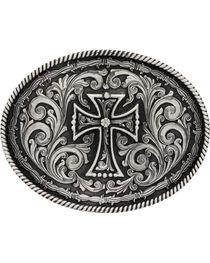 Montana Silversmiths Deco Cross Attitude Belt Buckle, Silver, hi-res