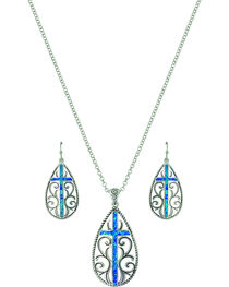 Montana Silversmiths Women's Filigree Water Lights Cross Jewelry Set, , hi-res