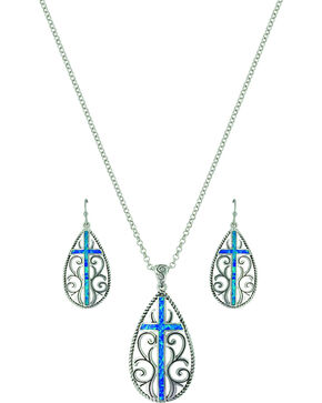 Montana Silversmiths Women's Filigree Water Lights Cross Jewelry Set, No Color, hi-res