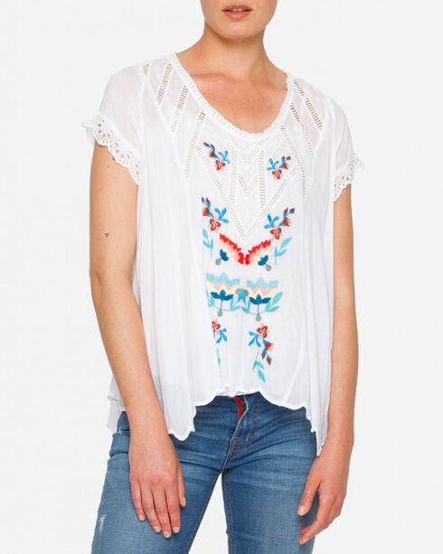 Johnny Was Women's Vara Blouse , White, hi-res